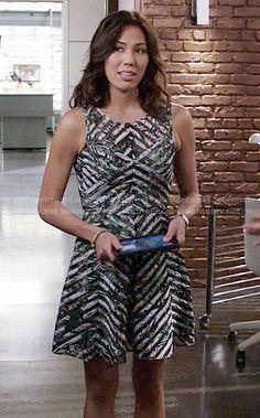 Angela's mesh striped dress on Bones.  Outfit Details: http://wornontv.net/53424/ #Bones