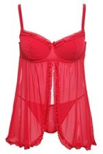 Red Ruched Flyaway Baby Doll SKU: 557807