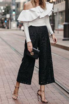 White One Shoulder Ruffle Top Black Lace Culottes Gucci Marmont Handbag Leopard Heels Fashion Jackso Black Women Fashion, Look Fashion, Fashion Outfits, Womens Fashion, Workwear Fashion, Fashion Blogs, Steampunk Fashion, Petite Fashion, Gothic Fashion