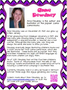 Free Anna Dewdney author poster