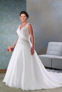 Cheap Sleeveless V-neck A-line Plus Size Wedding Dresses Shop Online For Sale [KPS0017] - $249.00