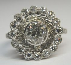 Antique Round European Diamond Engagement Ring Platinum Ring Size 6.25 EGL USA #Engagement
