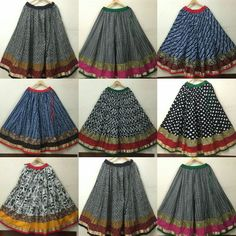 Gorgeous Indigo's ikkat Ajrakh handblock long funky skirts now on racks. .handcrafted with natural fruits and vegetables colours made by the master artisans from rural part of India. For order inbox us or Wattsup at 9999687102 We shipped worldwide Bulk orders accepted Skirt Blouse Design, Saree Blouse Neck Designs, Kids Blouse Designs, Kurta Designs Women, Chaniya Choli Designer, Skirt And Top Dress, Cotton Lehenga, Navratri Dress, Long Skirt Fashion