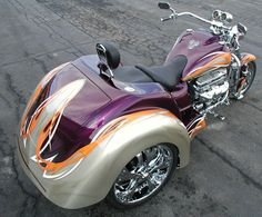 Purple, Silver, and Orange Boss Hoss Trike. Motos Harley, Harley Bikes, Custom Trikes, Custom Cars, Custom Harleys, Vw Trike, Tricycle Motorcycle, Boss Hoss, Side Car
