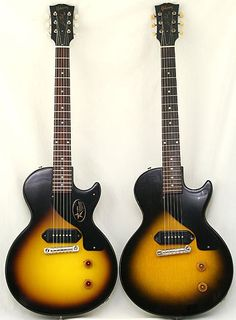 Twins - LP Juniors Electric Guitar And Amp, Guitar Amp, Electric Guitars, Guitar Pics, Cool Guitar, Gibson Les Paul Jr, Sound Of Music, Planks, Musical Instruments