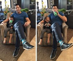 """""""Just a couple of big kids hanging out! Happy Birthday to the coolest nephew around 😄"""" Jonathan Silver Scott, Scott Brothers, Drew Scott, Property Brothers, My Photos, Couple Photos, Your Turn, Best Day Ever, Hanging Out"""