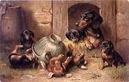 Afbeeldingsresultaat voor Carl Reichert (1836-1918) - Dachshund with young foxes