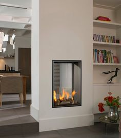 The Vertical Bell Small Tunnel fire is a stunning gas fire which would add character to any room or living space. The Vertical Bell Small Tunnel is a very stylish see through fire that can act as a great room divider. Double Sided Fireplace, Small Fireplace, Home Fireplace, Modern Fireplace, Fireplace Design, Living Room Modern, Home Living Room, Living Room Designs, Living Spaces