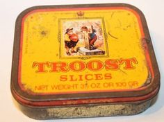 VINTAGE TROOST SLICES DUTCH Type Pipe Tobacco Tin Advertising Can NR