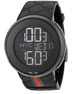 443fcd1ce5f Gucci Men s YA114207 I-Gucci Digital Black Green Red Strap Watch Mens  Digital Watches