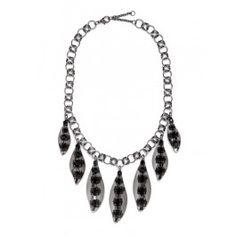 Bauble Bar Onyx Leaf Necklace