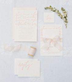 Typography  Soft blush invitations: www.stylemepretty | Photography: Ryan Ray  ryanrayph