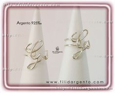 """Anello con iniziale """"G"""" 2 Wire in Argento 925‰ / Ring with the initial """"G"""" 2 Wire Silver 925 ‰"""