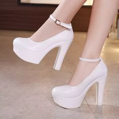Round Toe Black Block Heels Women Pumps Split Leather Shoes Dance High Heels Shoes Platform Pumps Crystal For Party Work Shoes Silver Wedding Shoes, Wedding Heels, Women's Pumps, Shoes Heels, Platform Block Heels, Office Shoes, White Heels, Bridal Shoes, Leather Shoes
