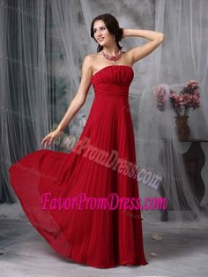 Simple Wine Red Strapless Empire Floor-length Dresses for Prom in Chiffon