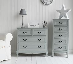 Brekeley chest of grey drawers. Ideal for bedroom, hall, living room or bathroom. Grey and white living room and hall furniture. New England, Scandi, French and Danish style furniture from The White Lighthouse