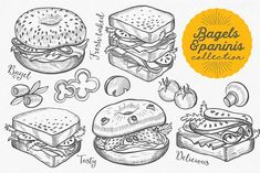 Bagels & Paninis hand-drawn graphic #bagel #panini