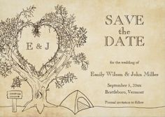 Cute rustic camping save-the-date wedding invitations. Understated and classy.