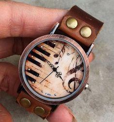 Retro style watch,Piano patter wrist watch bracelet, Brown Leather Bracelet Watch, Handmade Women's Watch, Men Watch PB025 on Etsy, £10.73