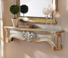 The beautiful Teal & Gold Mantle Wall Shelf add elegance to any room! #Kirklands #vintagechic #mantels