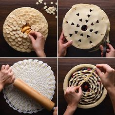 """8 WOW WORTHY PIE TOPS YOU CAN DO AT HOME from mSo Yummy on FB :: DirectionsFork """"Lattice"""" CrustTo make this easy faux-lattice design, all you'll need is store-bought pie crust dough and a fork! Hold the fork vertically in yo Mini Desserts, No Bake Desserts, Just Desserts, Delicious Desserts, Low Carb Dessert, Pie Dessert, Eat Dessert First, Pie Recipes, Baking Recipes"""