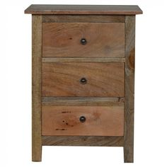 Vincent Three Drawer Solid Wood Bedside Table