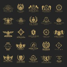 Luxury royal crest logo collection design for hotel and fashion brand identity. - Buy this stock vector and explore similar vectors at Adobe Stock Luxury Logo Design, Fashion Logo Design, Branding Design, Fashion Brand, Travel Agency Logo, Travel Logo, Royal Logo, Family Logo, Anniversary Logo