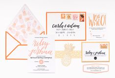 Preppy Palm Beach Wedding Stationery Inspiration / Design + Photo Credit: Coral Pheasant / Calligraphy: Moira Ink #wedding #invitations