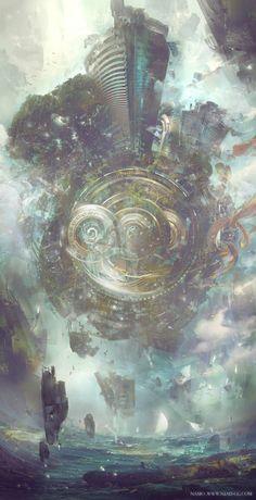 Best of art Fantasy Landscape, Landscape Art, Cyberpunk, Arte Steampunk, Epic Art, Environment Concept Art, Science Fiction Art, Fantasy Inspiration, Anime Scenery