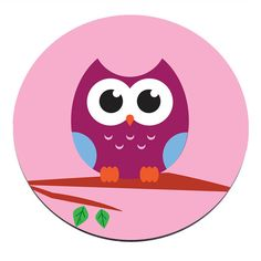 Owl in Tree Round Circle Circular PC Computer Mouse Mat Pad