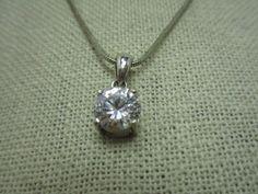 """Silver Tone Avon Honor Society Trillion CZ Solitaire Pendant 16"""" Necklace #AvonHS #solitairependantnecklace"""