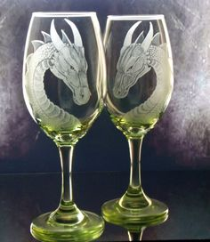 Lime green  turquoise or purple dragon engraved wine  glass set of two , gift ideas, dining, entertaining hostess gifts
