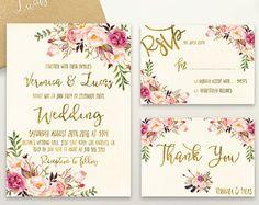 Rustic Wedding Invitation Printable Floral by PreppyDigitalArt