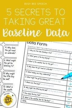 Wow here are some really great insights to taking great baseline data in your speech therapy sessions! FREE data sheets at the end! | busybeespeech.com