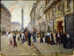 Jean Béraud, La sortie des ouvrières de la maison Paquin, rue de la Paix, vers 1902. Huile sur bois