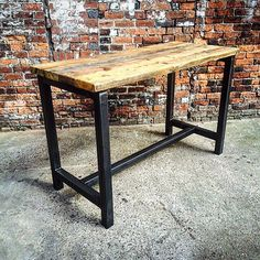 Reclaimed Industrial 8 Seater Chic Tall Poseur Dining Table Desk - Bar Cafe Restaurant Steel Solid Wood Metal Hand Made Bespoke 338 Holzbearbeitung , Table Bar, Pub Table Sets, Dinner Table, Table Desk, Wood And Metal Desk, Metal Desks, Wood Steel, Café Restaurant, Table Haute