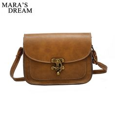 d200b2e67ecc Mara s Dream 2018 Vintage PU Leather Women Bag Fashion Lock Small Women  Messenger Bag Single Strap