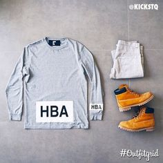Today's top #outfitgrid is by @kickstq. #HBA #Tee, #Dior #Denim, and #Timbs…