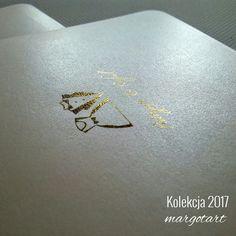 Najnowsza kolekcja zaproszeń ślubnych- wykonane z papierow metalicznych z elementami złoceń.