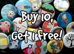 Mix and Match any 10 buttons from my shop Get 1 free by sacari, $17.50