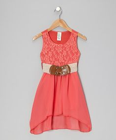 Take a look at this Coral Lace Hi-Low Dress - Girls by Just Kids on #zulily today!
