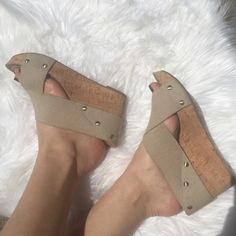 Cork Wedges Cork wedge, with elastic straps and gold studing, only worn a handful of times Lucky Brand Shoes Sandals