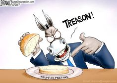 Democrats are calling Trump Jr's 20 minute nothingburger meeting with a Russian attorney Treason. Political Cartoon by A.F. Branco ©2017.