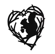 Paper Cut Silhouette Squirrel In Heart Shaped Branches Holds Acorn