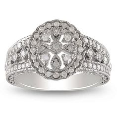 Miadora Sterling Silver /3ct TDW Round-cut Diamond Ring