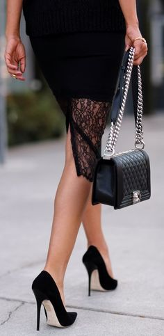 Black Suede Pointy Heels. I love everything about this outfit!