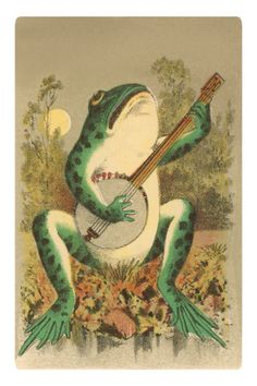 Art Print: Happy Birthday, Frog with Banjo Poster : Funny Frogs, Cute Frogs, Happy Birthday Frog, Vintage Posters, Vintage Art, Frosch Illustration, Frog Drawing, Frog Pictures, Frog Pics