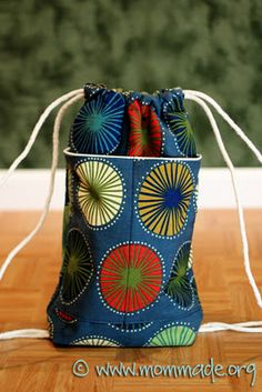 Drawstring backpack with two exterior pockets (adult size) $32.00