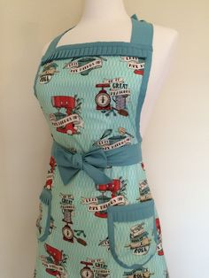 Retro apron and cute kitschy potholder set /mint green, turquoise & red baker's flash tattoo print/ retro, vintage, rockabilly kitchen decor by KitschNCloset on Etsy