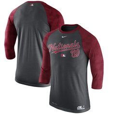 Washington Nationals Nike Authentic Collection Legend 1.7 3/4-Sleeve Raglan Performance T-Shirt - Charcoal
